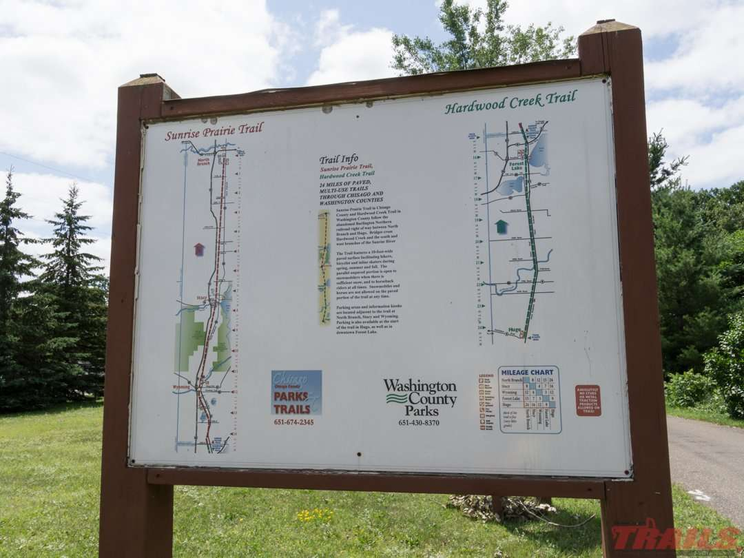 Map of both trails along the way on the Hardwood Creek Sunrise Prairie Trail