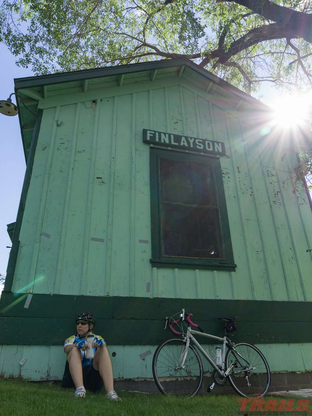 Taking a break at the old Fnlayson train depot on the Willard Munger Trail