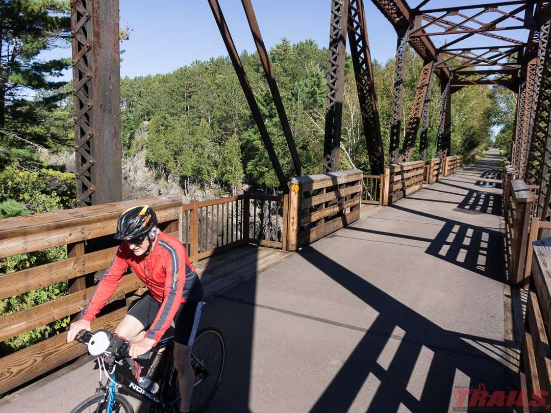 At Jay Cooke State Park the trail crosses the St. Louis River on an old railroad trestle
