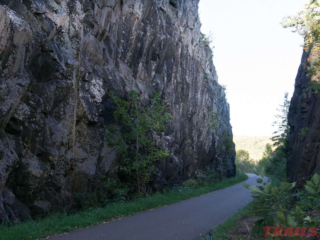 Impressive rock cuts near Duluth were made for railroad tracks on the Willard Munger Trail