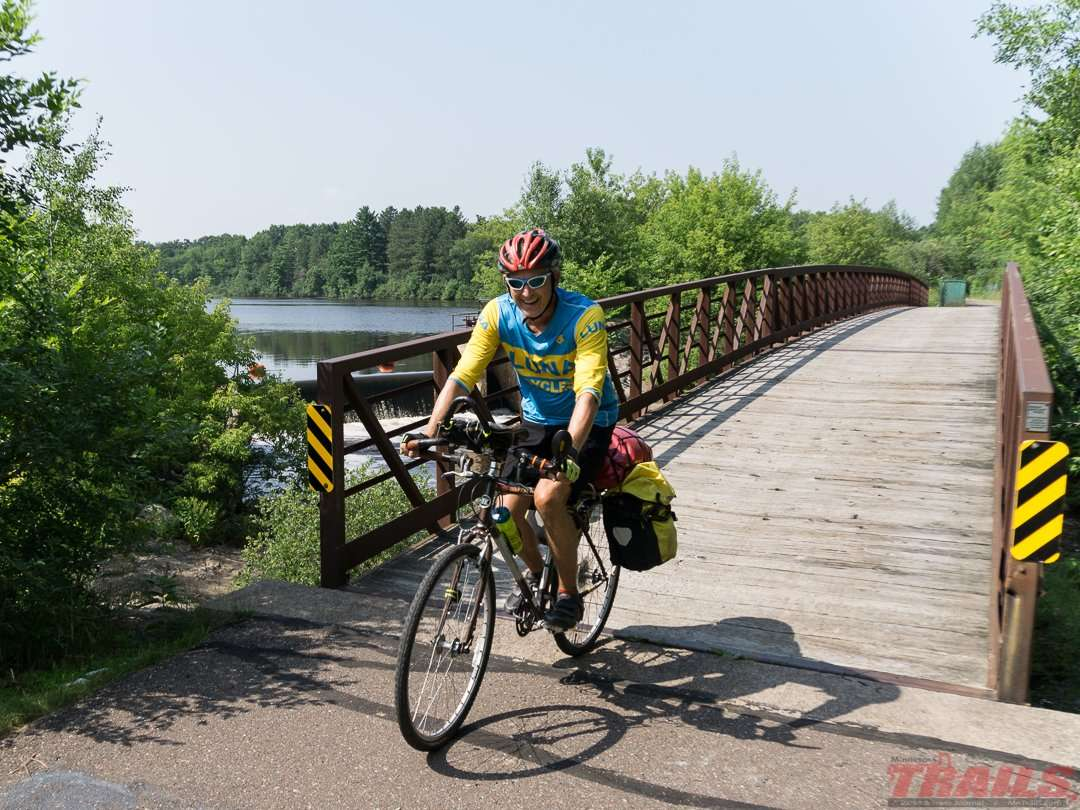 Crossing the Grindstone River in Hinckley on the Willard Munger Trail