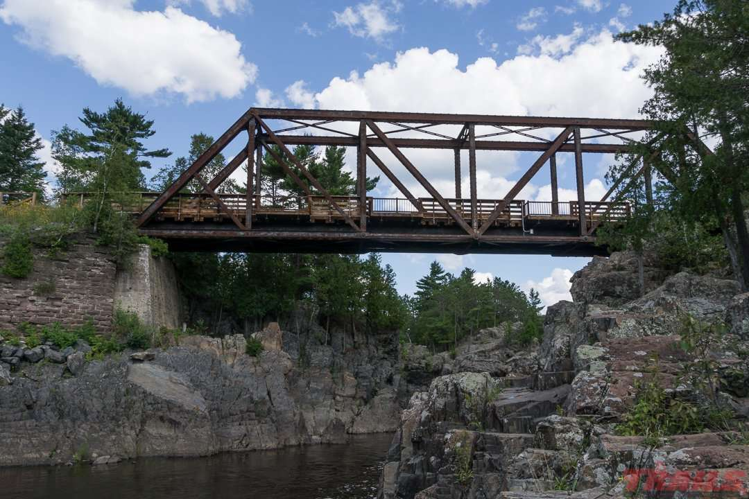 View of the trestle bridge from Jay Cooke State Park on the Willard Munger Trail