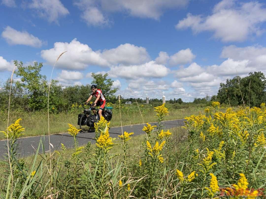 Bikepacker on the trail near Willow River on the Willard Munger Trail