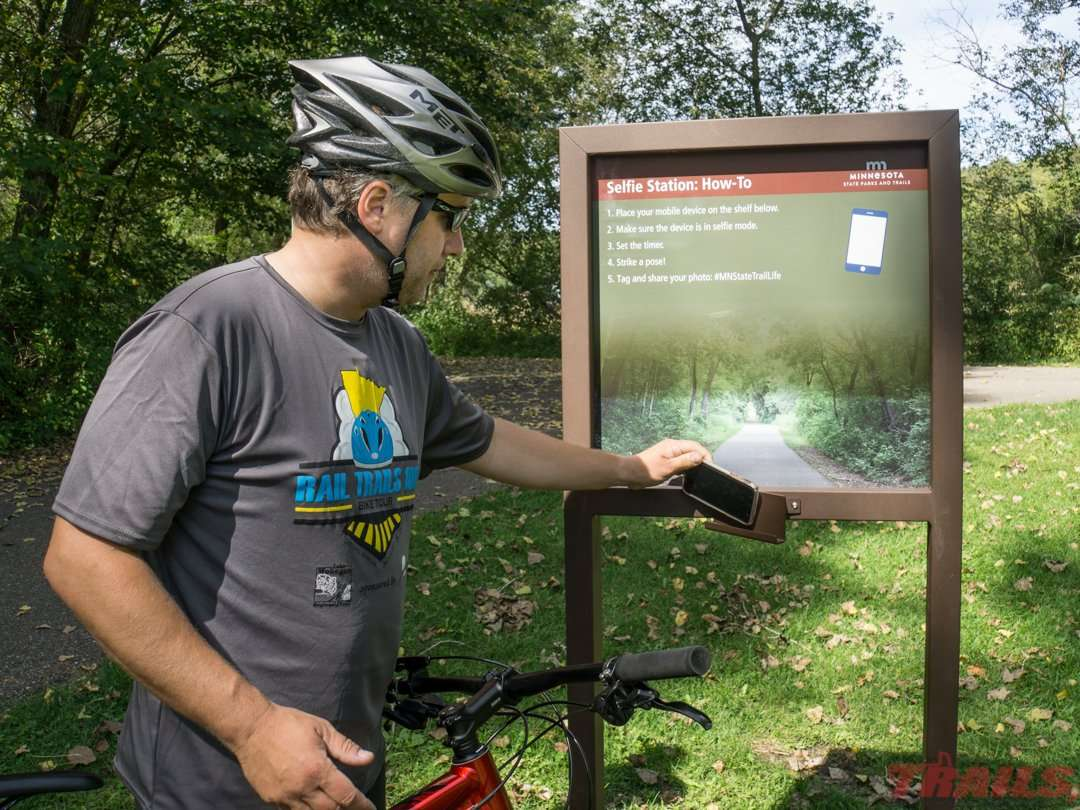 At Isinours Junction, trail users can take a selfie at the MNDNR selfie station-one of ten around the state