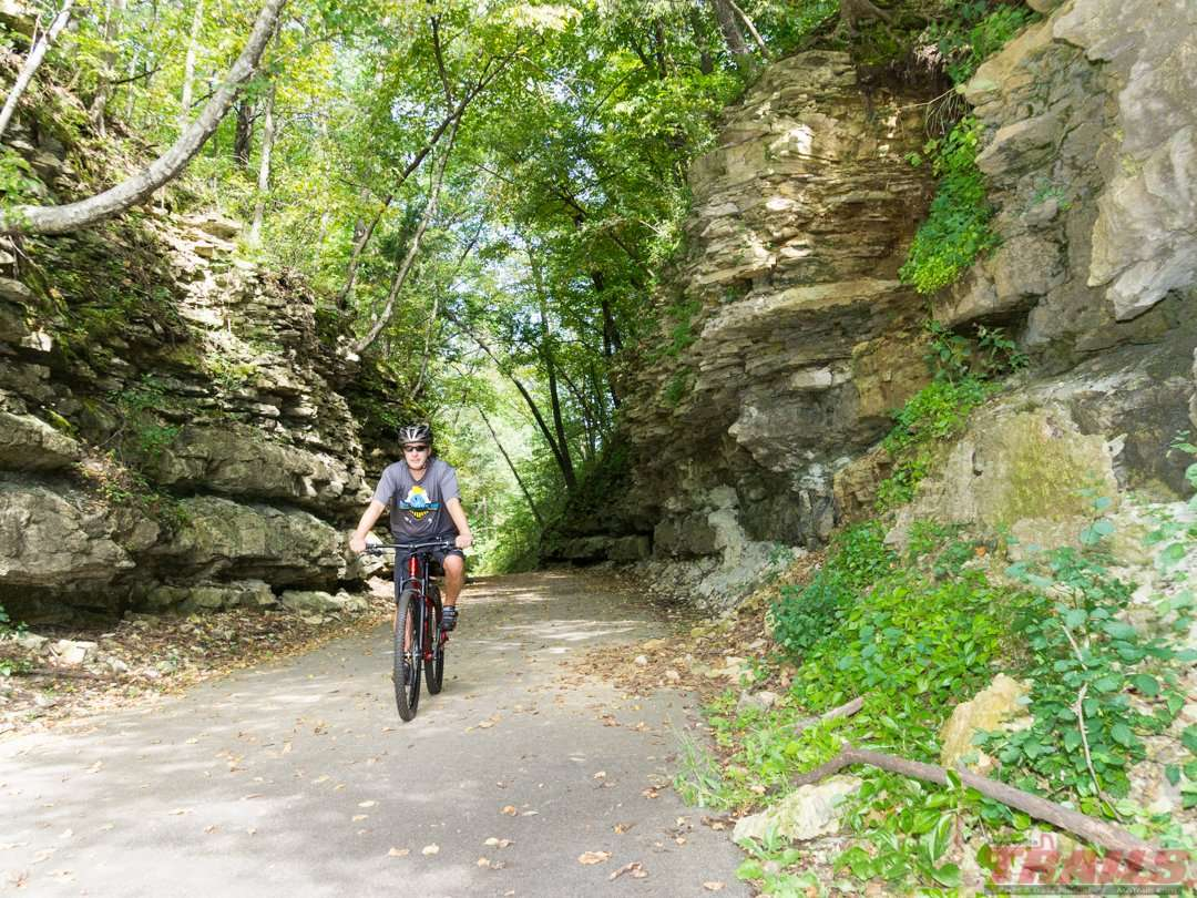 """Nature's air Conditioning""-rock cut between Isinours Junction and Lanesboro on the Root River State Trail"