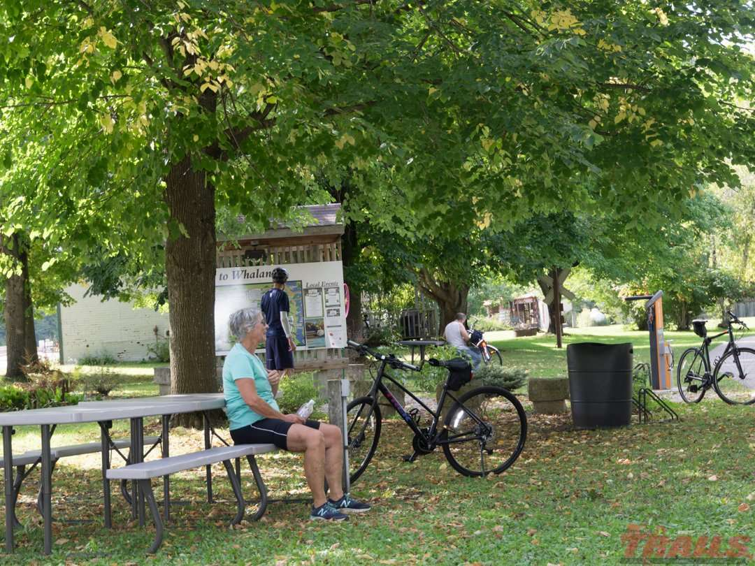 Taking a break at the Whalan rest area on the Root River Trail