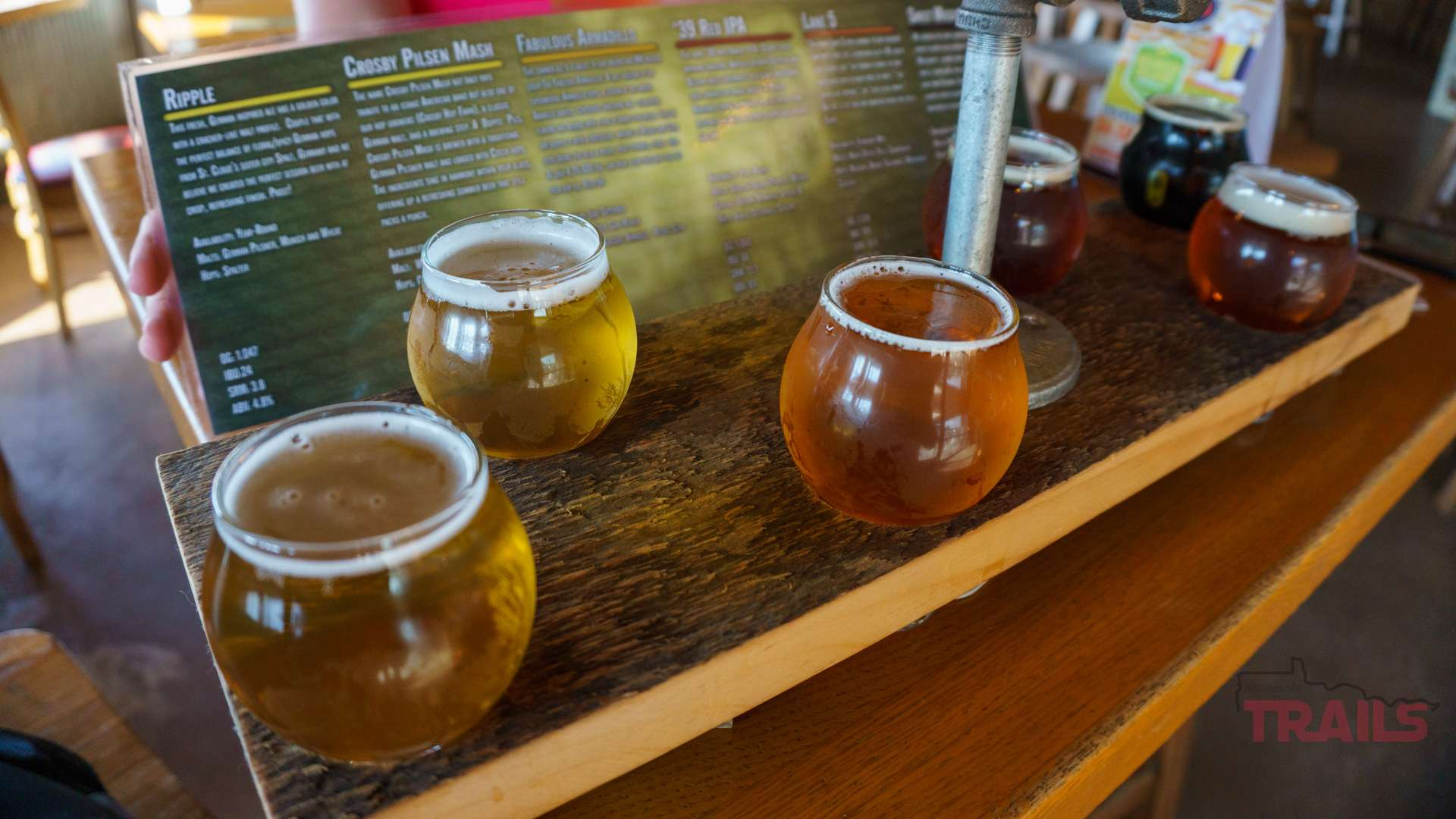 A flight of beers at Beaver Island Brewing Co