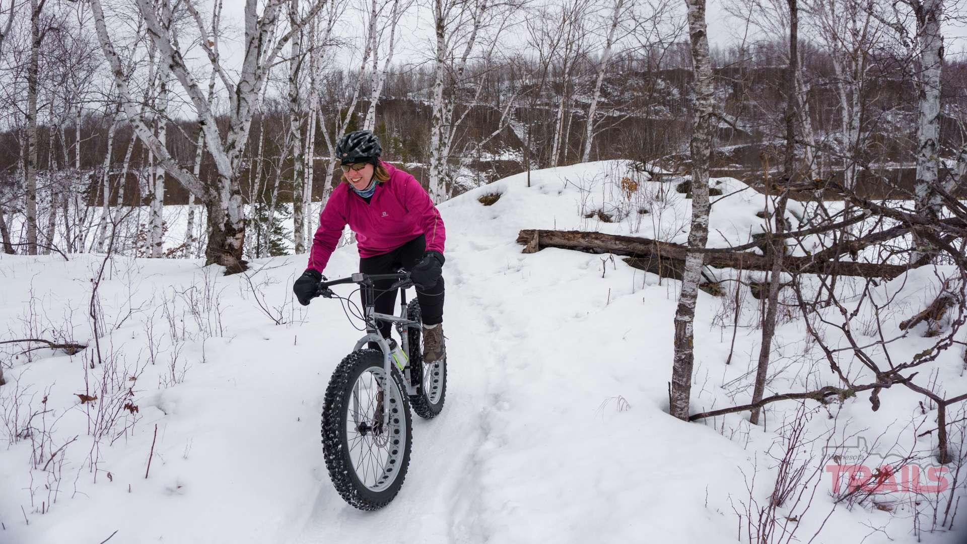 Winter fat biking in the Cuyuna Lakes State Recreation Area