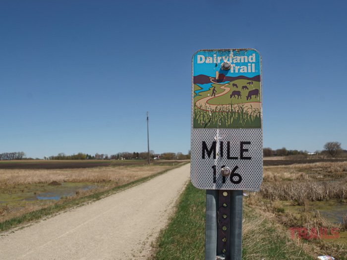 Mile Marker 116 sign on the Dairyland Trail