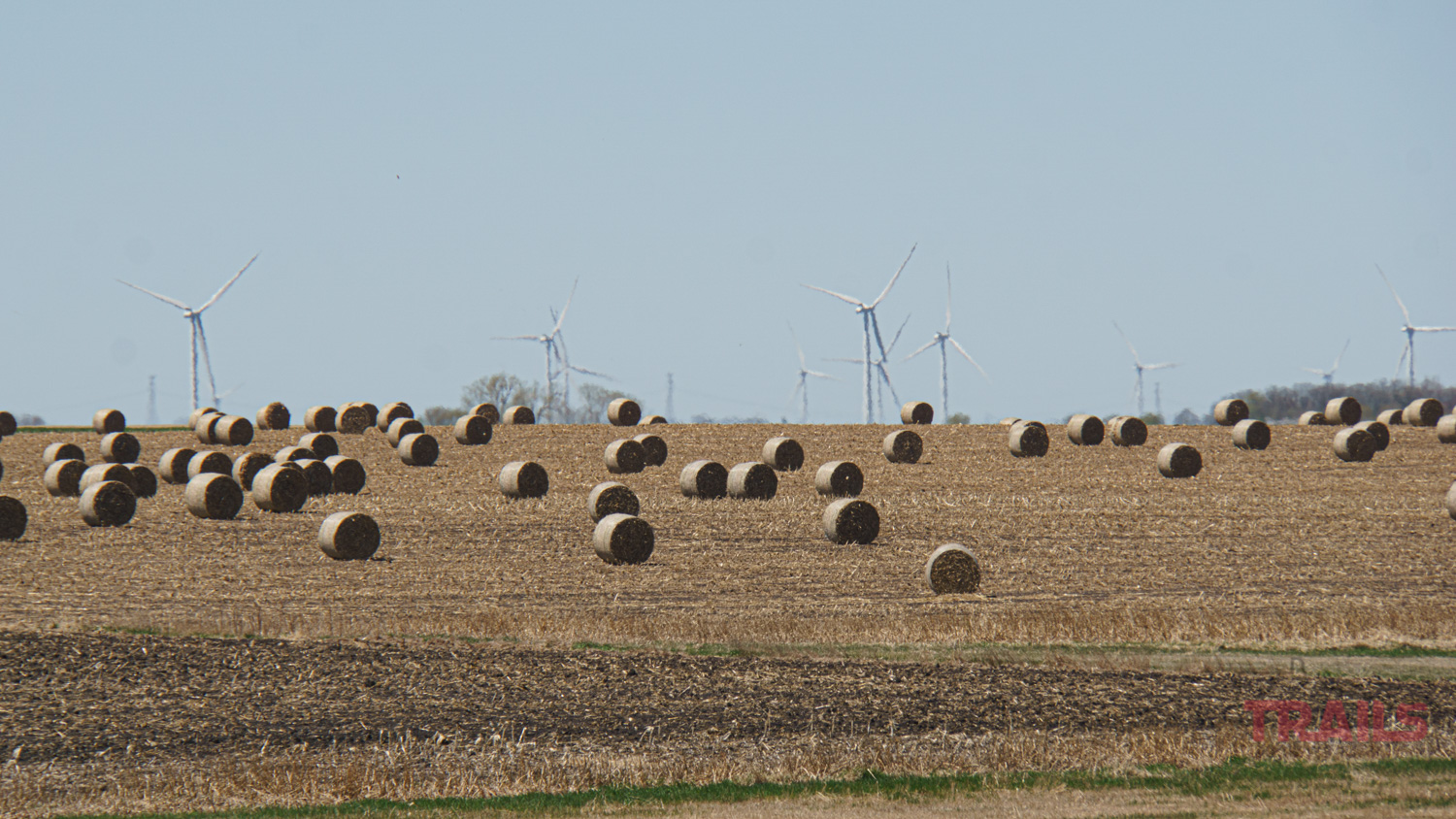 Windmills and hay bales along the Dairyland Trail