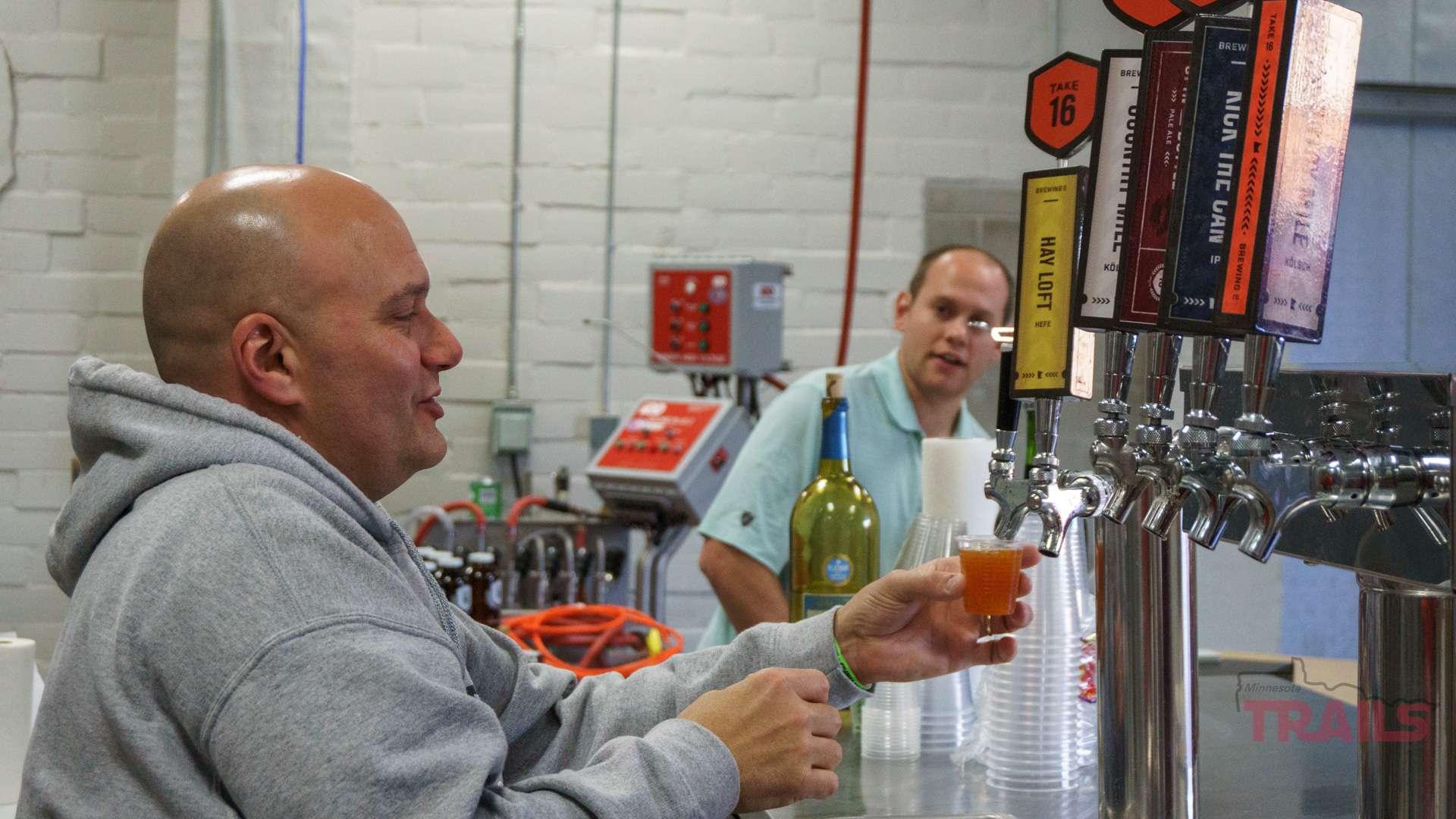Beer taps at Take 16 Brewing Co
