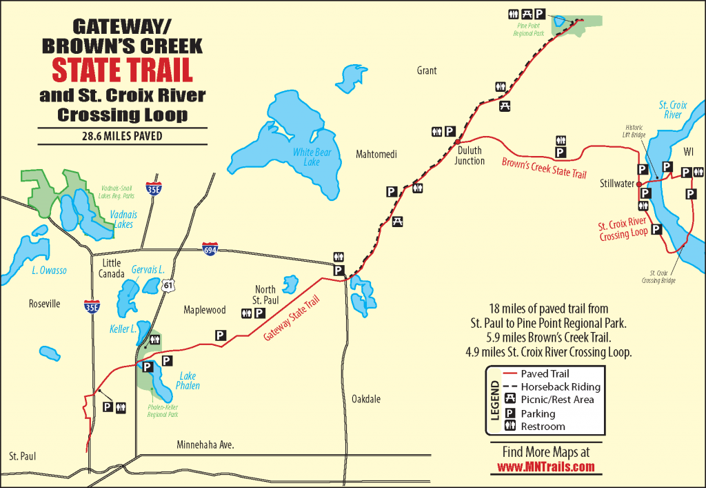 Map of the Gateway/Brown's Creek Trail with the St. Croix River Crossing Loop.