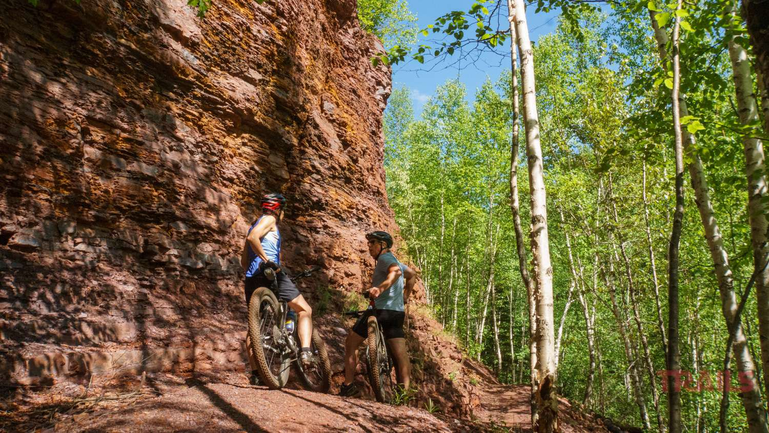Mountain Bikers on a path