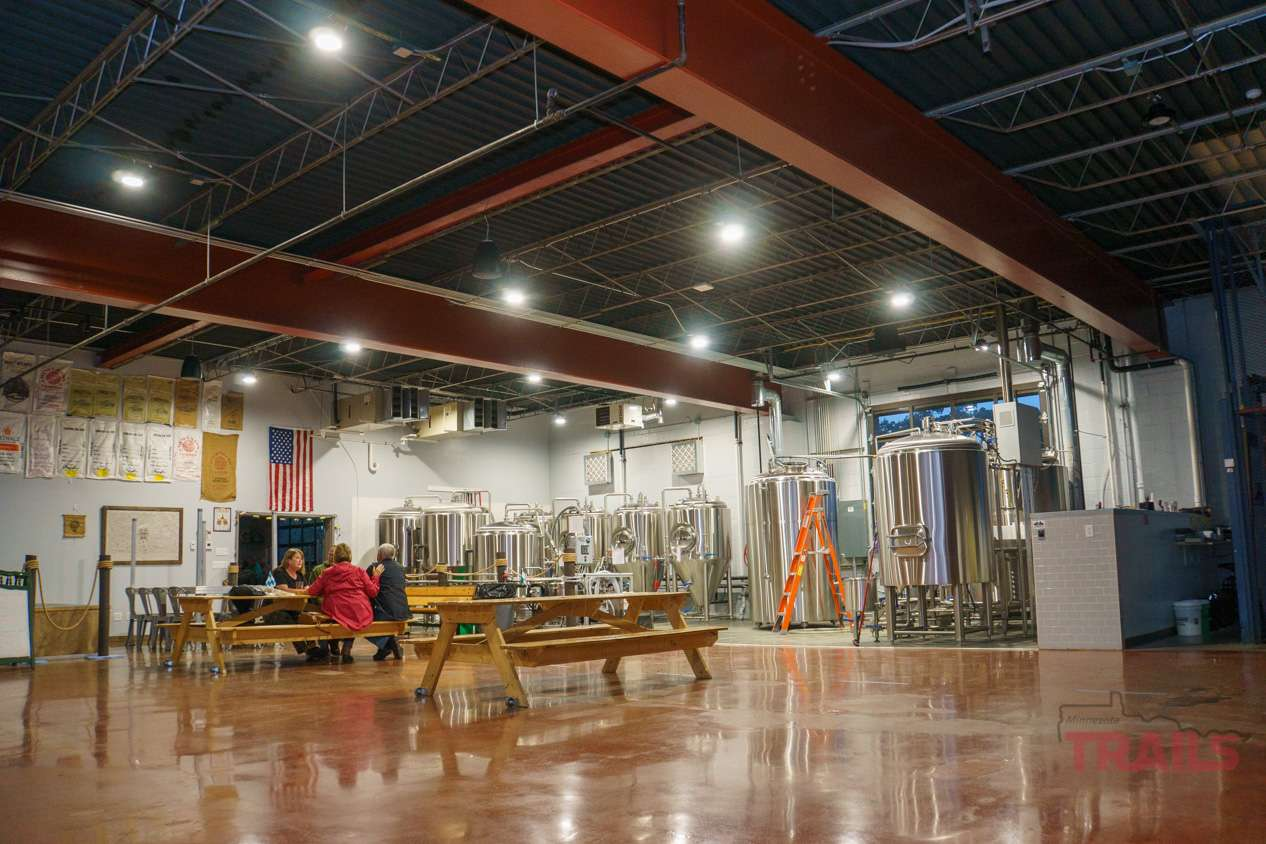 Interior of a brewery with brewing equipment
