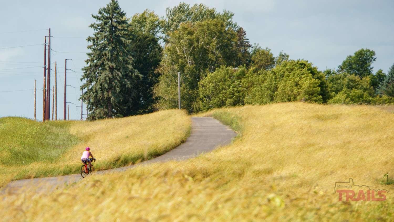A woman rides a bike through a field