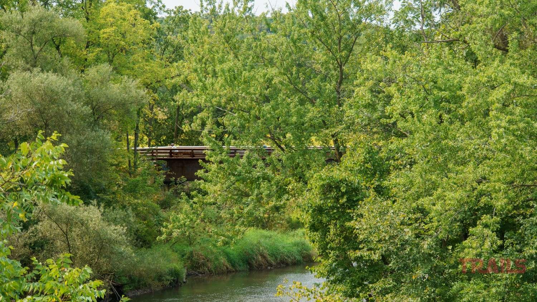 A bike trail bridge crossing