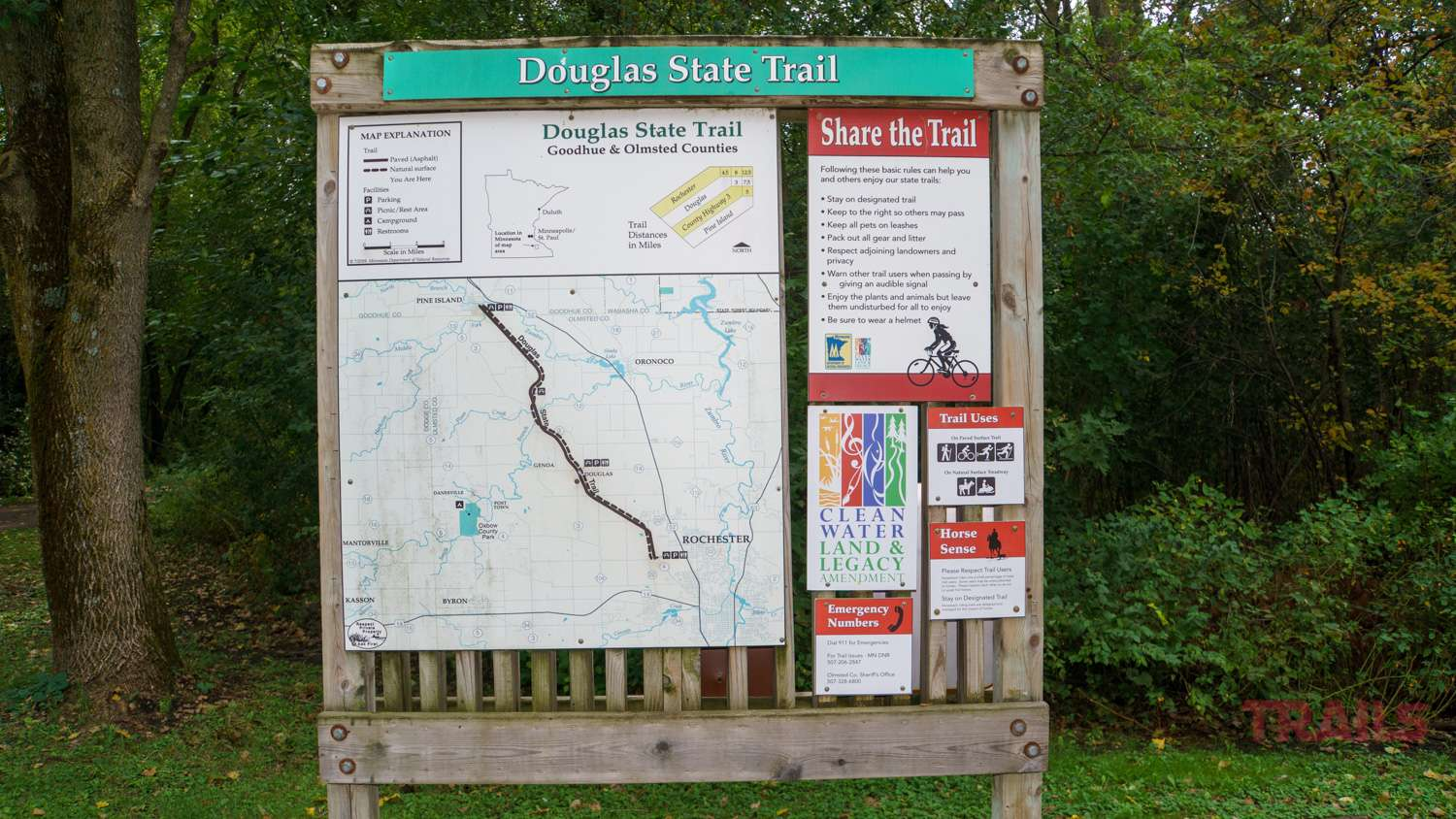 A trail sign for the Douglas State Trail