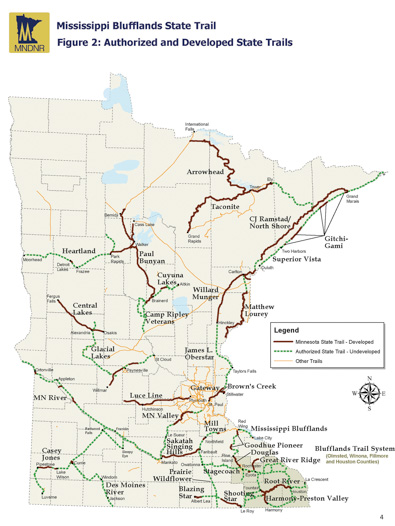 A map of Minnesota's developed and proposed trails