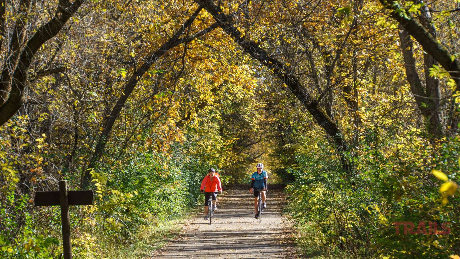 A man and woman ride bikes on a trail