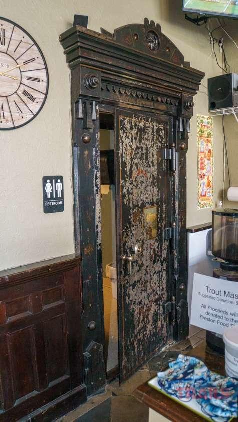 An antique vault door