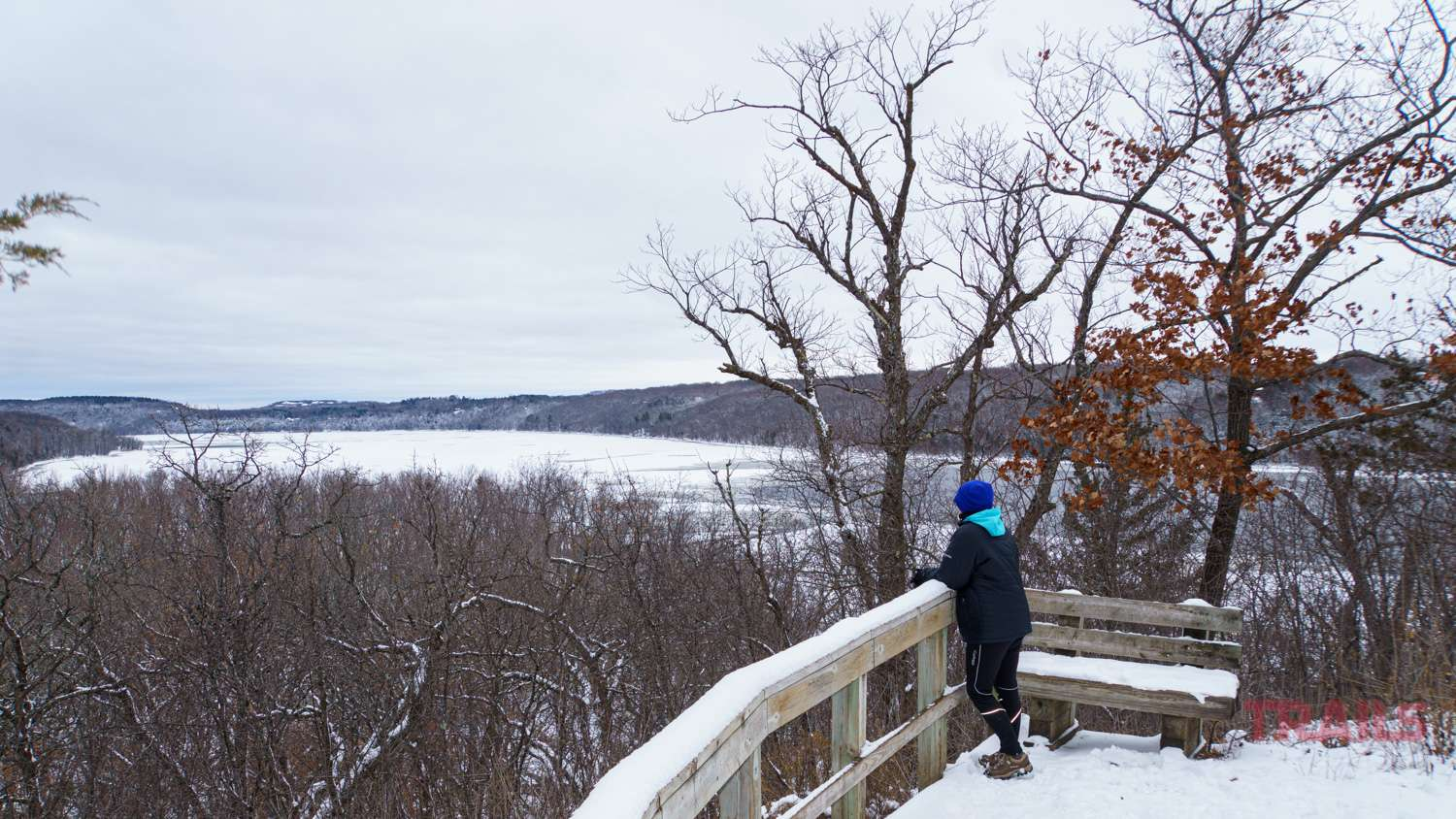Scenic winter view of the St. Croix River at Afton State Park