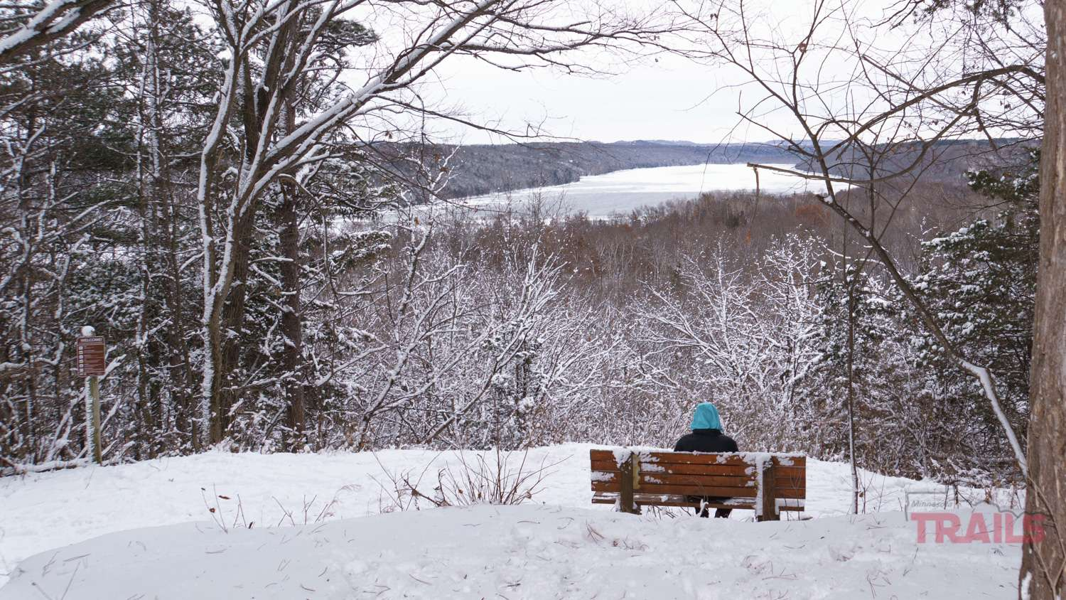 Scenic view of the St. Croix River at Afton State Park in the winter