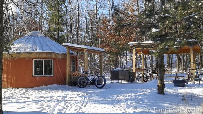 Cuyuna yurt in the snow