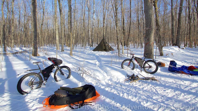 A winter campsite
