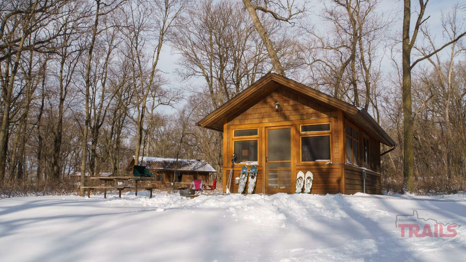 A small cabin in the snow
