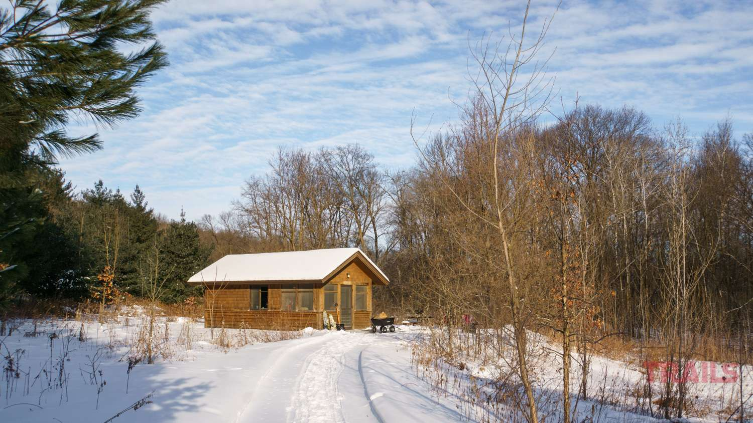 View of a camper cabin in the winter
