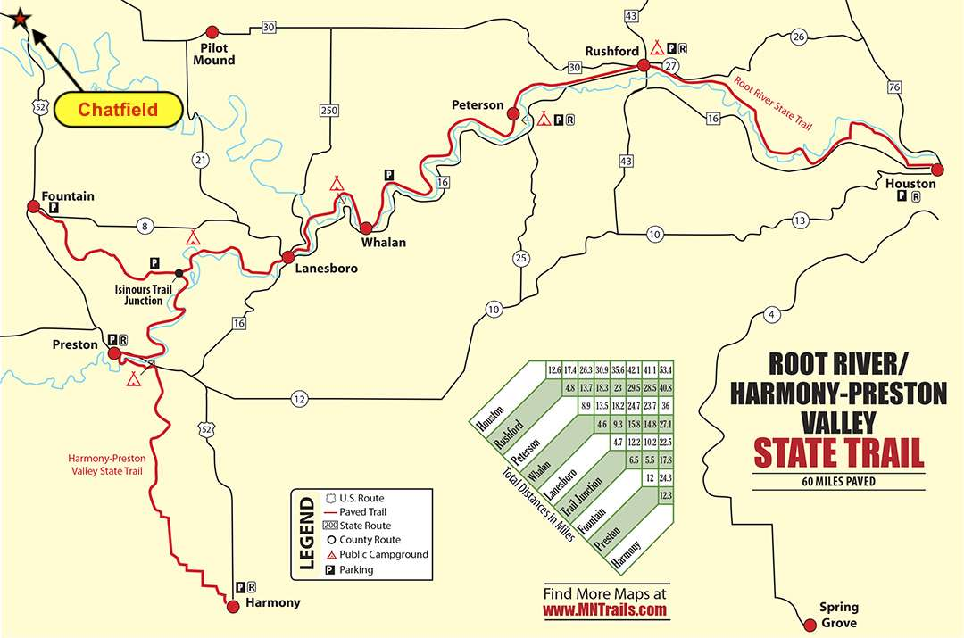 A map of the Root River/Harmony-Preston Valley State Trail with the town of Chatfield