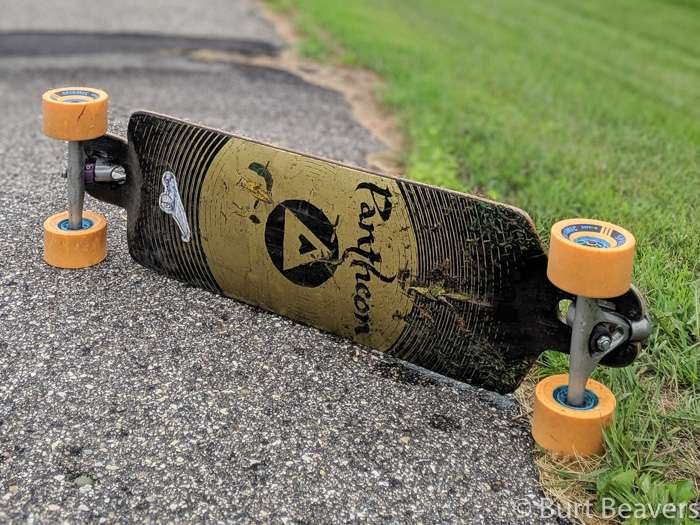 Closeup view of a competition longboard