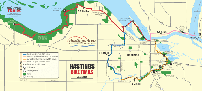 A map of the bike trails in Hastings, MN