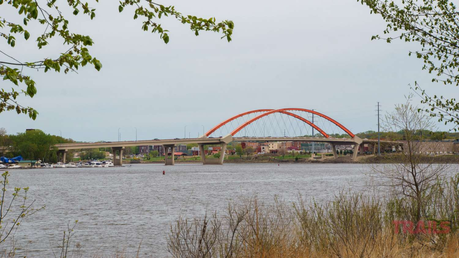 The iconic bridge with its terracotta arches spans the Mississippi in Hastings, MN