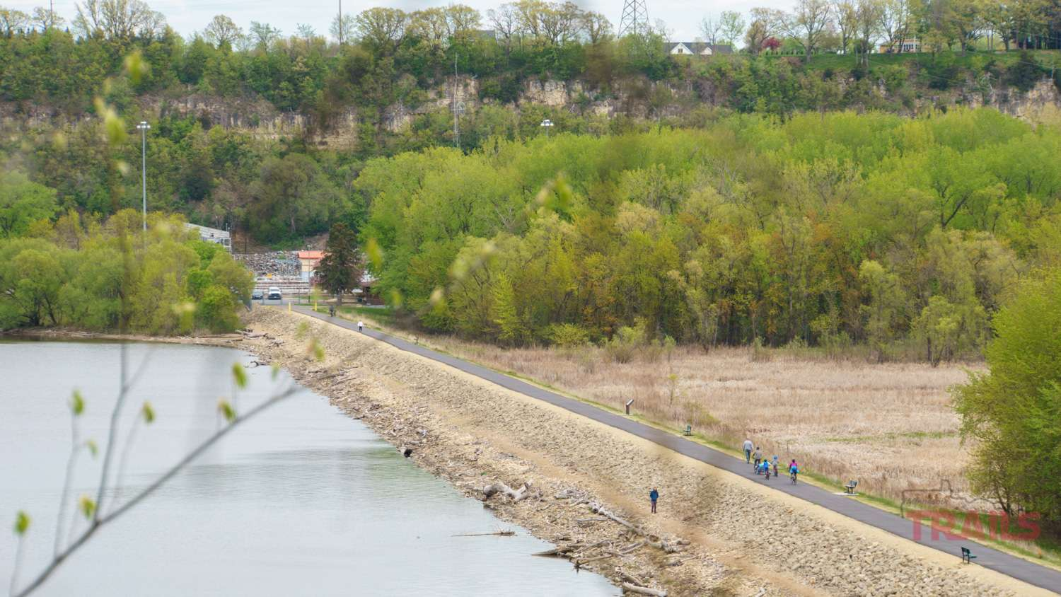 An aerial view of the Hastings river dike trail and the Mississippi River