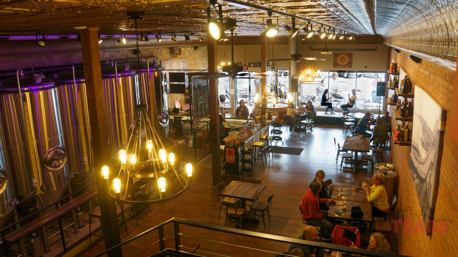 View of the interior of Spiral Brewery