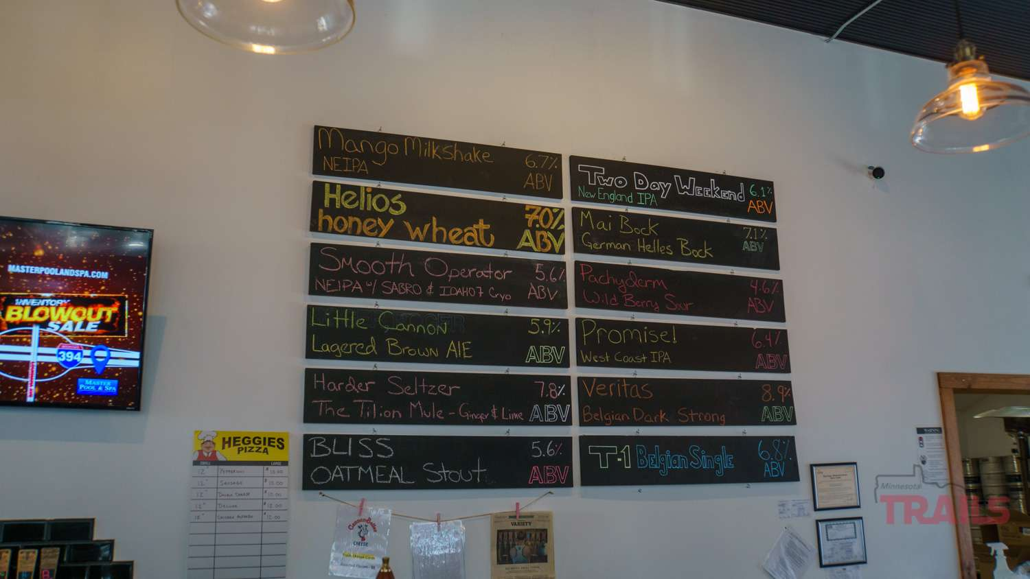 A chalkboard listing beers in a taproom