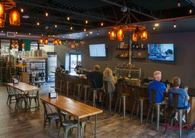 Patrons sit at Angry Inch Brewing in Lakeville MN