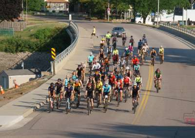 A group of bicyclists ride their bikes at the inaugural Bluenose Gopher 50 Gravel Race