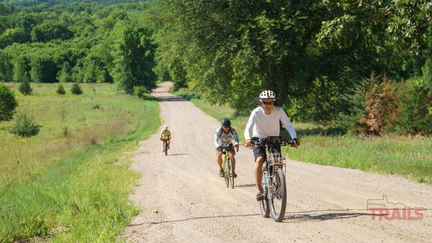 A man rides his bike at the inaugural Bluenose Gopher 50 Gravel Race