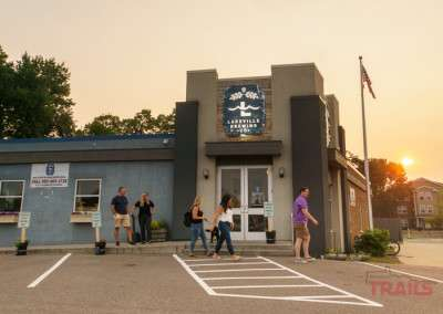 People walk in front of Lakeville Brewing Co in Lakeville MN