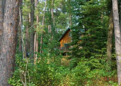 Glimpses of a log-sided cabin can be seen through the woods along a hiking trail