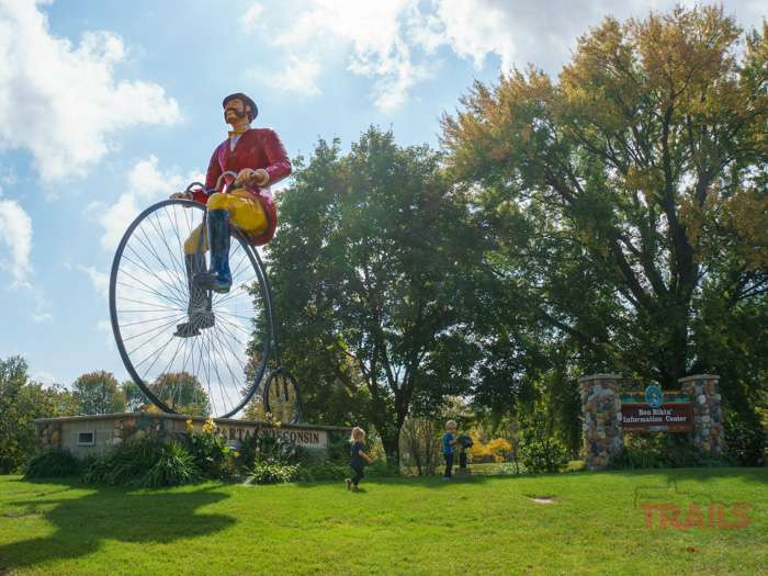 Ben Bikin, the larger than life cycling sculpture is the mascot of the town os Sparta Wisconsin