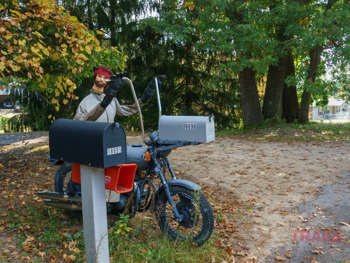 Bad Brad is whimsical mailbox decoration consisting of a motorcycle-mounted mailbox and a mannequin along the road near Sparta Wisconsin